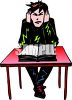 Angry Goth Teen at School Clip Art clipart