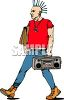 Punk Rocker Walking with a Boombox clipart