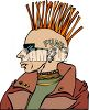 Extreme Punk Rocker With a Mohawk Clip Art clipart