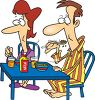 Couple Eating Breakfast Together Clip Art clipart