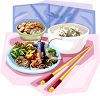 Asian Meal of Stir Fry and Rice Clip Art clipart