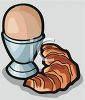 Croissant and a Soft Cooked Egg in an Egg Cup clipart