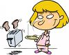 Girl Waiting for Her Toast Clip Art clipart