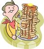 Young Man Eating a Very Large Stack of Pancakes Clip Art clipart
