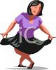 Woman Doing a Curtsy with Pride Clip Art clipart