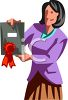 Woman Giving Out an Award at Work Clip Art clipart