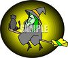 Black Cat on a Witches Broom clipart