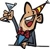 Cartoon Man Toasting the New Year Clip Art clipart