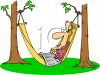Man Sleeping in a Hammock clipart
