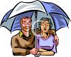 Couple Standing Under an Umbrella Clipart clipart