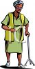 Old Woman Using a Cane Clip Art clipart