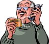 Old Man Paying, Over the Phone,  With a Credit Card Clip Art clipart