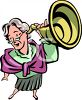 Old Woman Holding an Ear Trumpet Clipart clipart