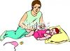 Mother Feeding Her Toddler clipart
