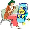 Nanny Playing Patty Cake with a Baby clipart