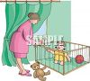 Toddler in a Playpen clipart