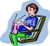 Pregnant Woman Knitting clipart