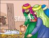 Jesus and the Three Wise Men in the Manger clipart