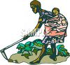 African Mother Working in a Field With Her Child on Her Back clipart