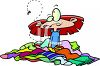 Cartoon of  a Girl Sitting in a Pile of Dirty Clothes clipart