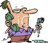 Cartoon Dad on the Phone with a Plumber clipart