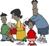 Cartoon African American Family Grocery Shopping clipart