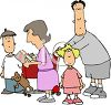 Cartoon Family Grocery Shopping clipart