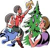 Family Trimming Their Christmas Tree clipart