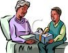 Boy Visiting With His Grandmother clipart