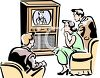 Vintage Family Watching Television clipart
