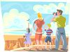 Family on Vacation at the Grand Canyon clipart