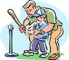 Man Teaching His Son to Play T-Ball clipart