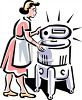 Vintage Woman Using a Washing Machine clipart