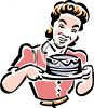 Vintage Woman Holding a Cake clipart