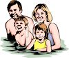 Happy Family Swimming in a Pool clipart