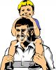 Boy Riding on His Dad's Shoulders clipart