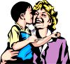 Little Boy Kissing His Mother clipart