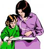 Woman Reading a Story to a Little Girl clipart