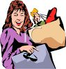 Woman Just In From Shopping clipart