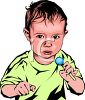 Small Boy Holding a Lollipop clipart