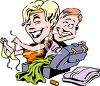 Couple Unpacking on Vacation clipart