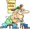 Cartoon of  a Nerdy Guy Getting a Tattoo clipart