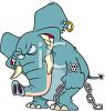 Tattooed and Pierced Elephant Holding a Length of Chain clipart
