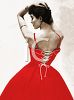 Sexy, Red,  Laced 1950's Dress clipart