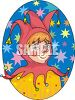 Kid Wearing a Jester Costume clipart