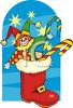 Clown Doll in a Christmas Stocking clipart
