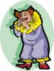 Clown Playing a Flute clipart
