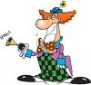 Cartoon Clown Honking a Horn clipart