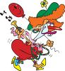 Female Clown Honking a Horn clipart