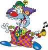 Cartoon of a Crazed Clown clipart